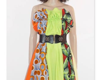 Originale Robe Afrowax !! APPLE !! En coton vert et multicolore Taille 40/42 Long 82cm belicious-delicious-creation