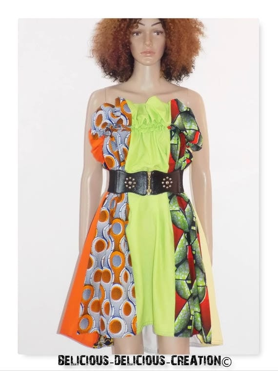 Original Afrowax dress! APPLE! Green and multicolor cotton size 40/42 Long 82 cm belicious delicious creation