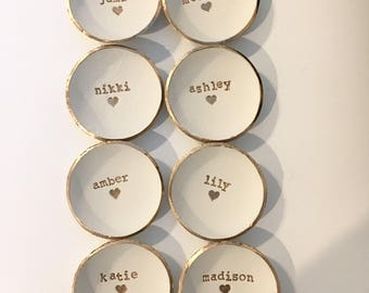 Bridesmaid Gift, Bridesmaid set of 8, Dish Set, Ring Holder, Personalized Dish, Jewlery Holder,