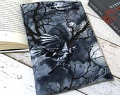 Raven Book Buddy, Custom Size Padded Cover, Bird Book Sleeve, Bookish Gift, Bookworm Accessories, Gothic Literature Pouch, Bookworm Bag