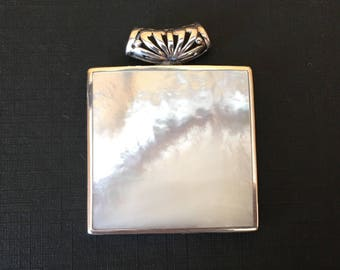 """Gorgeous Mother of Pearl Shell Sterling Silver Pendant 1 1/2"""" Square"""