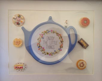 Boxed photo frame, kitchen decor ,enjoying the little things, handmade , miniature cakes , mothers gift