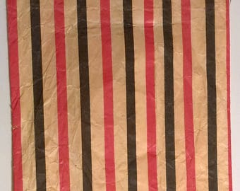 Vintage Singer Sewing Machine Company Notions Shopping Bag Black and Red Striped Bag Advertising Vintage 50's Paper Sewing Memorabilia