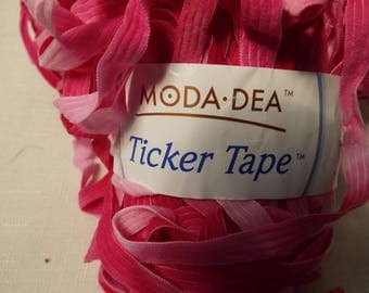 3 Skeins Moda-Dea Ticker Tape Nylon Yarn. Colors are in beautiful shades of pink. Color is Pink Passion