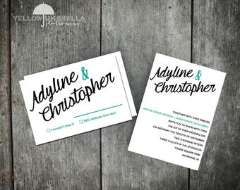 Modern Wedding Invitations with RSVP Card and Envelopes