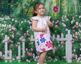 Baby girl summer dress in white with flowers print