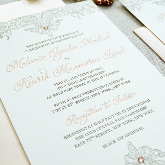 MELANIE - Luxurious Letterpress Wedding Invitation - Double Thick 100% Cotton Pearl White Card Stock with Swarovski Crystals