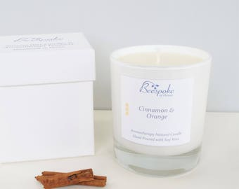 Cinnamon and Orange Candle, Luxury Boxed, Aromatherapy, Soy Wax, Essential Oils, Vegan Friendly