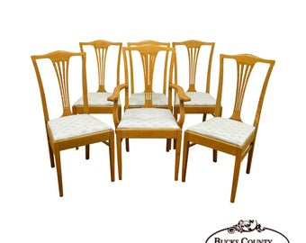 antique set of 6 golden oak dining chairs