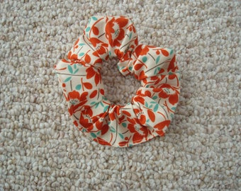 Floral Patterned Scrunchie, Hair Accessory , Fashion Accessory , Handmade , Made in USA