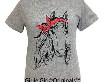 Girlie Girl Originals Paisley Bandana Horse Sport Grey Short Sleeve T-Shirt
