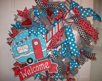 Happy Camper Welcome Wreath, Summer Wreath, Deco Mesh Wreath, Camping Wreath, Whimisical, Welcome Wreath, camper decor, porch decor