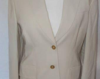 summer sale Vintage Jacket Jaeger cream wool blazer jacket size small