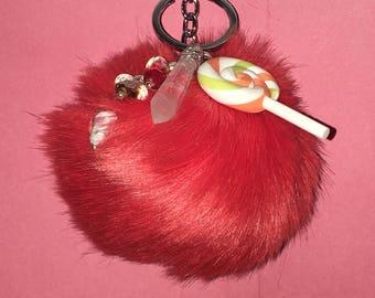Orange Lollipop Pendent PomPom Keychain