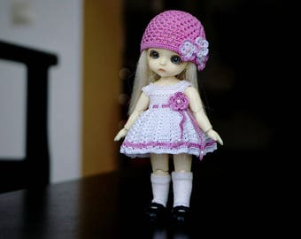Hand knitting: Set for Lati White SP (12 cm) - dress, cap
