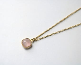 Necklace Rose Quartz AMASIS [silver plated]