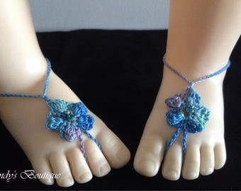 Baby Birthstone Barefoot Sandals -Pair (March)