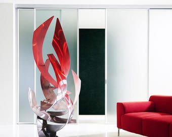 "Contemporary Modern Abstract Metal Indoor Outdoor Sculpture Red Silver Grey ""Tempest"" by Dustin Miller"
