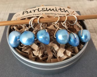 Blue Sky Freshwater Pearl & Sterling Silver Stitch Markers for Knitting,Set of 6,Knitting Notions, Gift for Knitter