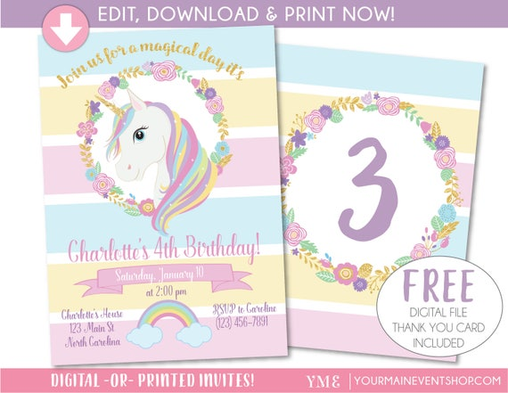 Unicorn invitation unicorn party invite magical rainbow unicorn il570xn stopboris