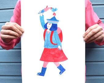 Girl with ice cream, blue and red art print, cute illustration print, A3 print, A4 print, colourful, wellies, bird, sharing, fun, cute,
