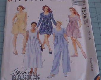 McCalls 7524 Misses Dress, Romper and Jumpsuit Size 10-14