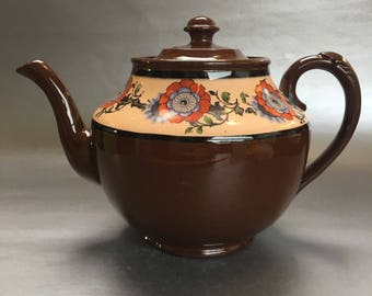 Vintage Gibsons Teapot Burslem England Pottery Brown Betty Floral Bell