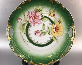 Three Crown China Germany Green Bone China Cake Plate or Serving Platter
