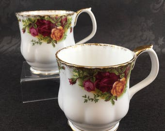 Royal Albert Old Country Roses English Bone China Pair of Coffee Mugs Cups