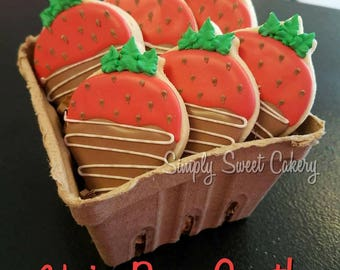 Chocolate Covered Strawberry themed sugar cookies/Valentine's day
