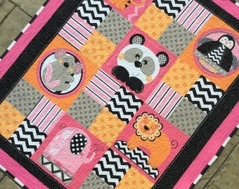 "Baby quilt Handmade Animal quilt  39"" x 47""  pink and black baby toddler blanket play mat car seat quilt  bear, tiger, lion, elephant, koala"