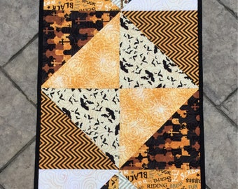 """Quilted Halloween table runner coffee table runner table topper 18.5"""" x 36"""""""