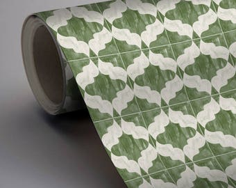 Moroccan Arabesque Wallpaper in Green  Removable Vinyl Wallpaper - Peel & Stick - No Glue, No Mess