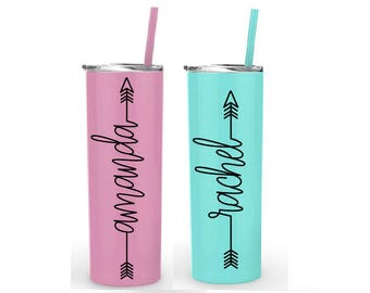 Set of 2 personalized tumblers- personalized tumbler with straw- stainless steel tumbler- arrow name design- name with arrow tumbler- gift
