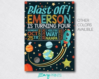 Space Invitation Space Birthday Party Invitation Rocket Ship Invitation Outer Space Outer Space Birthday Astronaut Birthday Invitation