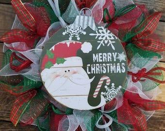 Christmas Wreath, Merry Christmas Wreath, Santa Wreath, Santa Claus Mesh Wreath, Ribbon Wreath,