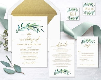 Greenery Wedding  Invitation, Printable Greenery Wedding Invitation Template, Greenery Wedding Invitations, Eucalyptus Gold
