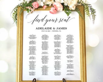 Wedding Seating Chart Sign, Wedding Seating Chart Poster, Alphabetical Seating Chart, Matches Greenery and Boho Floral Designs