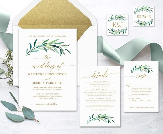 greenery wedding invitation printable greenery wedding
