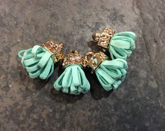 Turquoise green micro suede tassels with gold caps Petite tassels for jewelry making and crafts