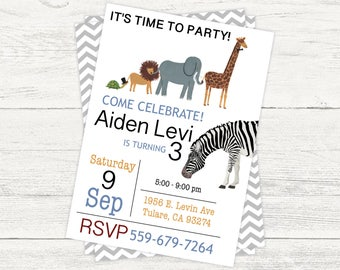 Wild animal birthday digital party invitation