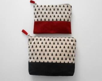 Canvas Cosmetic Bag Set, Beauty Bag, Christmas Gift for Her, Toiletry Bag, Zipper Purse, Canvas Makeup Bag, Large Makeup Bag, Black Friday