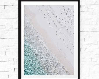 Beach art print, Beach decor, Printable photography, Aerial beach print, Digital download, Beach life, Modern beach poster, Sea print