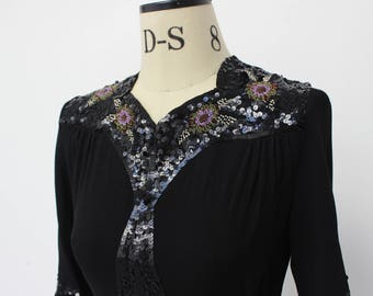 Vintage 1930's Sequin and Beaded Black Blouse