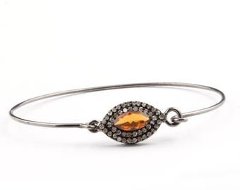 4th july 1 Pc Pave Diamond 925 Sterling Silver Bangle with Citrine-- Designer Bangle Size : 2.5 TO 2.375 BD022