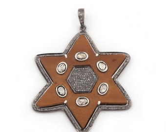 March Sale 1 Pc Pave Diamond Natural Sandle Wood With Rosecut Over 925 Sterling Silver -Star Pendant 59mmx55mm PD1060