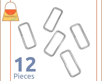 "1.5 Inch Rectangular Wire Loops / Rings, Nickel Finish, 12 Pieces, Purse Handbag Hardware, Rectangle Ring, 1-1/2 Inch, 1-1/2"", RNG-AA012"