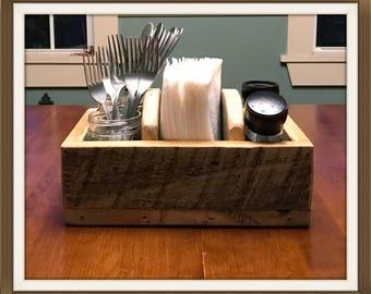 Rustic Table Organizer, Flatware Holder, Salt & Pepper Holder, Primitive Napkin Holder, Wooden Table Caddy, Reclaimed Wood Table Organizer