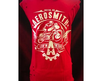 Custom Vintage Distressed Aerosmith Tshirt