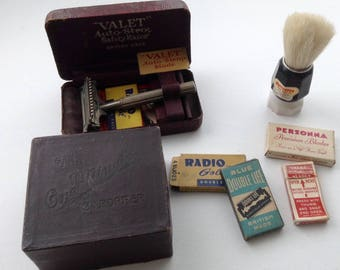 Vintage Safety Razor Collection for Men. Valet Auto Strop Razor - One Minute Stropper  -  Shaving Brush - 4packets of Razors.